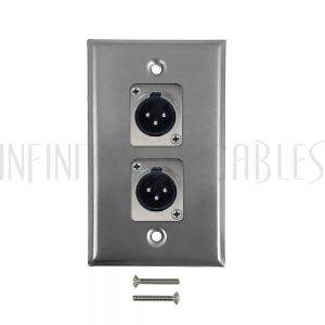 WPK-XLR-2M XLR 2 x Male Wall Plate Kit - Stainless Steel - Infinite Cables