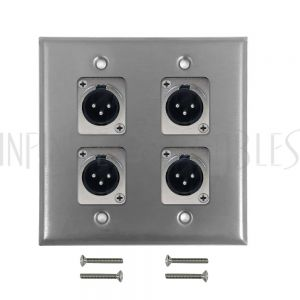 WPK-XLR-4M XLR 4 x Male Wall Plate Kit - Stainless Steel - Infinite Cables