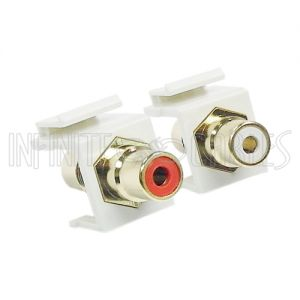 WP-IN-AUD Audio Female/Female Keystone Wall Plate Insert (Red & White Color Coded) Coupler