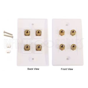 WPK-BAN2 2 Pair Banana Clip Wall Plate Kit - White - Infinite Cables