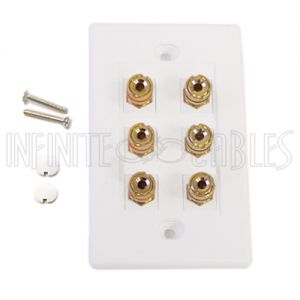 WPK-BAN3 3 Pair Banana Clip Wall Plate Kit - White - Infinite Cables