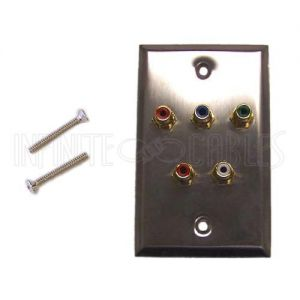 WPK-SSRGBA RCA Component + Left/Right Audio Single Gang Wall Plate Kit - Stainless Steel - Infinite Cables