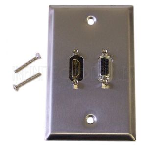 WPK-SSVH VGA, HDMI Single Gang Wall Plate Kit - Stainless Steel - Infinite Cables