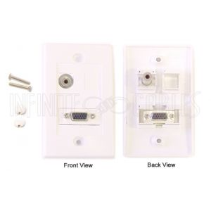 WPK-VGAS 1-Port VGA + 1-Port 3.5mm Wall Plate Kit - White - Infinite Cables