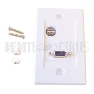 1-Port VGA + 1-Port USB Wall Plate Kit - White