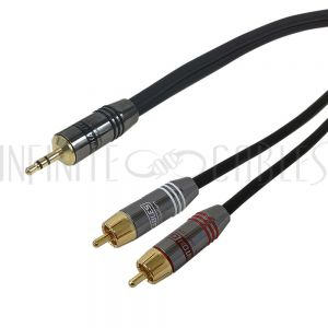 3.5mm Male to 2x RCA Male Cables - Premium - Infinite Cables
