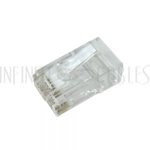 CN-RJ45C6U1-100 RJ45 1 Piece Cat6 Plug for Round Cable (Solid or Stranded) (8P 8C) [CLONE] - Infinite Cables