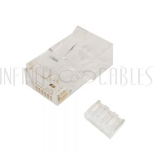 CN-RJ45C6U2-100 RJ45 2 Piece Cat6 Plug for Round Cable (Solid or Stranded) (8P 8C) [CLONE] - Infinite Cables