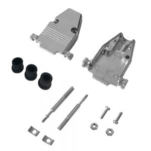 CV-MDB15-KIT4-08 DB15 Metal Cover Kit with Thumbscrews and Grommets - Fits 5mm to 8mm Cable - Infinite Cables
