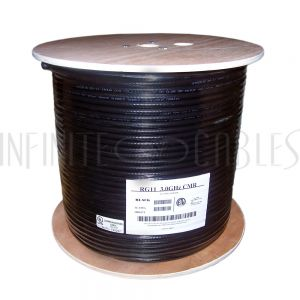 BK-CXRG11 1000ft RG11 14AWG CCS 60% Braid Bulk Cable CMR/FT4 - Black
