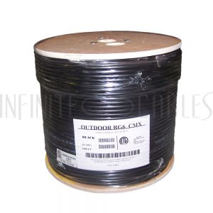 BK-CXRG6-DB 1000ft RG6 18AWG CCS Direct Burial Bulk Cable CMX - Black - Infinite Cables