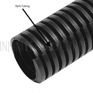 SL-075-550-BK 550ft 3/4 inch Corrugated Black Split Loom