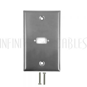 WP-VGA-SS 1-Port DB9 size cutout Stainless Steel Wall Plate - Infinite Cables