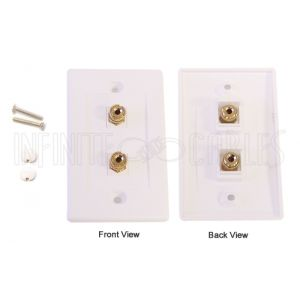WPK-BAN1 1 Pair Banana Clip Wall Plate Kit - White - Infinite Cables