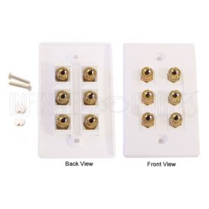 WPK-BAN3 3 Pair Banana Clip Wall Plate Kit - White