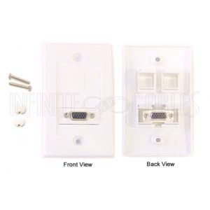 WPK-VGA1 1-Port VGA Wall Plate Kit - White - Infinite Cables