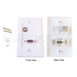 WPK-VGAU 1-Port VGA + 1-Port USB Wall Plate Kit - White
