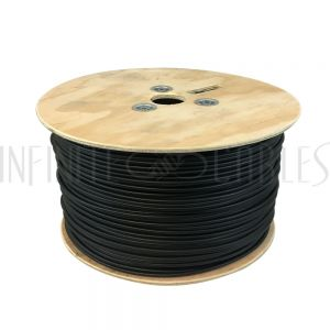BK-AD02C22-BK 1000ft 2C Audio Bulk Cable - 22AWG stranded 90% braid + 100% foil FT4 - Infinite Cables