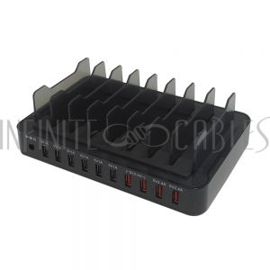 CH-USB-PS10-BK USB A 10-port SMART IQ power station - Black (19V/13.2A) - Infinite Cables