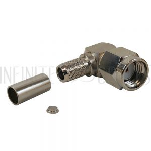 CN-18-195 SMA Reverse Polarity Male Right Angle Crimp Connector for RG58 (LMR-195) 50 Ohm