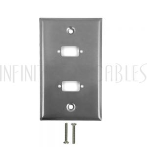 WP-VGA2-SS 2-Port DB9 size cutout Stainless Steel Wall Plate - Infinite Cables