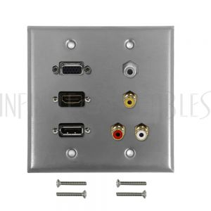 WPK-SS-209 VGA, HDMI, DisplayPort, 3.5mm, RCA Composite + Left/Right Audio Doublegang Wall Plate Kit - Stainless Steel - Infinite Cables