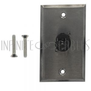 WPK-TRS-1F 1x TRS Locking Female Single Gang SS Wall Plate Kit - Stainless Steel - Infinite Cables