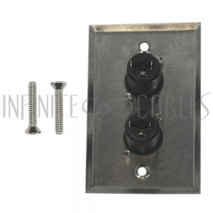 WPK-TRS-2F Single gang SS wall plate kit (2x TRS locking female) - Infinite Cables