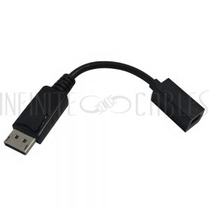 AD-DP-MDP 6 inch DisplayPort 1.2 Male to MDP Female Adapter - Black - Infinite Cables