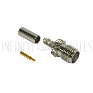 CN-13-100 SMA Reverse Polarity Female Crimp Connector for RG174 (LMR-100) 50 Ohm - Infinite Cables