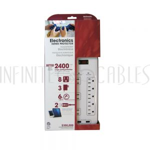 PB-510-WH 8 Outlet Surge Protector - 2400J, 6ft Cord, Down Angle Plug, 2 USB Charging Ports - White - Infinite Cables