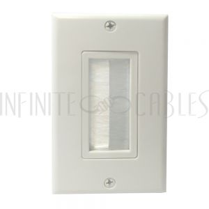 WP-DPB-WH Cable Pass-through Wall Plate, Brush Style, Single Gang Decora - White - Infinite Cables