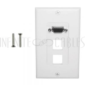 WPK-VGA2-D 1-Port VGA Wall Plate Kit Decora White (with 2x Keystone Hole) - Infinite Cables