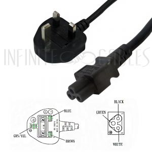 PW-177-2M 2m BS1363 (UK) to IEC C5 Power Cable - H05VV-F 0.75