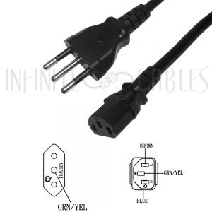 PW-190-2M 2m CEI 23-16 (Italy) to IEC C13 Power Cord H05VV-F 1.0 (10A 250V) - Infinite Cables