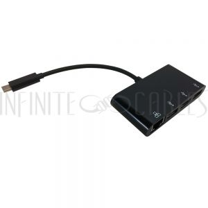 AD-UC-MP01 USB 3.1 Type C to 3x USB 3.0 + Gigabit Ethernet Adapter - Black - Infinite Cables