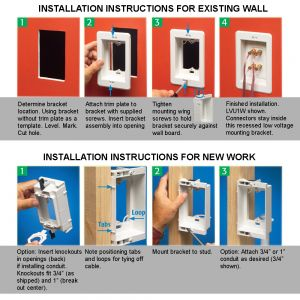 WP-CLIP-R Recessed Drywall Clip - Plastic, Single Gang, Pre/Post Construction
