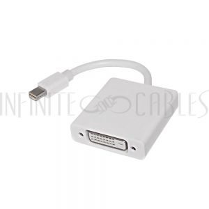 AD-MDP-DVI 6 inch Mini-DisplayPort/Thunderbolt Male to DVI Female Adapter - White - Infinite Cables