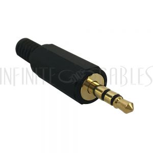 CN-S3.5MP-6.0BK 3.5mm Stereo Male Solder Connector - Black