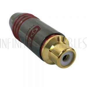 CN-SRCAF-6.5RD Premium RCA Female Solder Connector (6.5mm ID) - Red - Infinite Cables