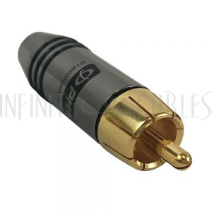 CN-SRCAM-6.5BK Premium RCA Male Solder Connector (6.5mm ID) - Black - Infinite Cables