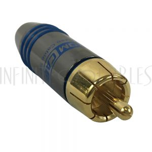 CN-SRCAM-6.5BL Premium RCA Male Solder Connector (6.5mm ID) - Blue - Infinite Cables