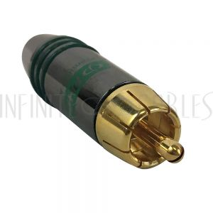 CN-SRCAM-6.5GN Premium RCA Male Solder Connector (6.5mm ID) - Green
