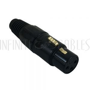 CN-XLRF-BK XLR Female Solder Connector, Gold Plated - Black