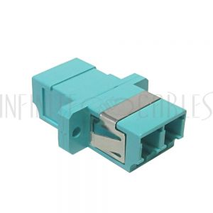 FO-AD408-PM LC/LC Fiber Coupler F/F Multimode 50 Micron 10gig OM3/OM4 Duplex Ceramic Panel Mount, Aqua - Infinite Cables