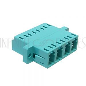 FO-AD408Q-PM LC/LC Fiber Coupler F/F Multimode 50 Micron 10gig OM3/OM4 Quad Ceramic Panel Mount, Aqua - Infinite Cables