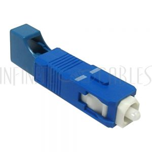 FO-AD609-2 LC Female / SC Male Fiber Hybrid Coupler Singlemode Simplex Ceramic, Blue - Infinite Cables