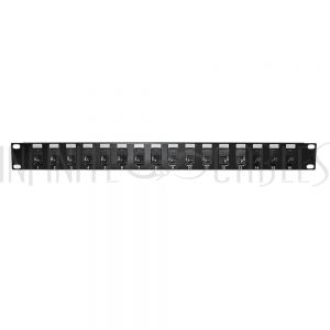 "PP-16C6A-JK 16-Port CAT6A Patch Panel, 19"" Rackmount 1U - 110 Punch-Down - Infinite Cables"