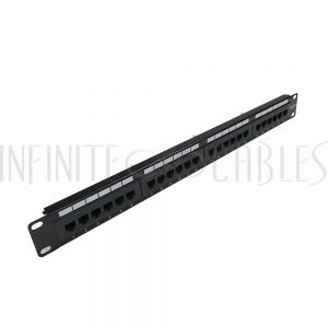 "PP-24C6-110 24-Port CAT6 Patch Panel, 19"" Rackmount 1U -  110 Punch-Down - Infinite Cables"