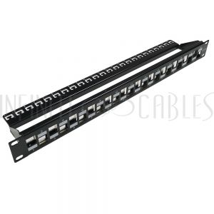 "PP-24KSC6A-1U 24-port Shielded Keystone Patch Panel, 19"" Rackmount 1U - CAT6A Unloaded - Infinite Cables"